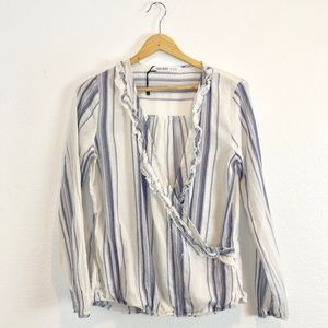 Zara blue creme crossed linen long sleeve top